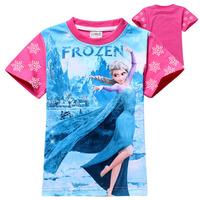 Free Shipping Frozen Elsa girl girls Short sleeve Summer T shirt children T-shirt top kids Tees 6 pcs/lot wholesale