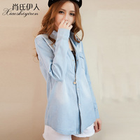 2014 new spring Woman denim shirt female long-sleeve  fashion medium-long casual solid color shirt