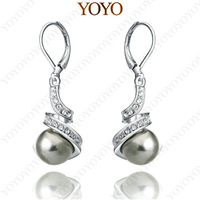 Fashion Style 18K White Gold Plated Shining Austria Crystal Black Pearl Earring (YOYO E004W2)