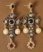 2014 cross crystal rhinestone gold earrings new design fashion luxury earrings for women high quality hot sale