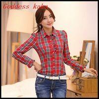 Free shipping Hot new spring 2014 cotton plaid shirt long-sleeved lapel shirt women tops fashion blouse B022