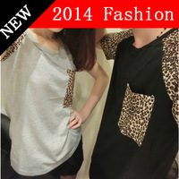 New 2014 Fashion t-Shirt Lovers clothes Womens t shirt Short sleeve Leopard print Multicolor Pockets Couple women t shirts XXXL