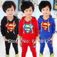 Retail spring super man boys clothing girls clothing baby child sweatshirt outerwear set boy's suit 1set/lot Free shipping