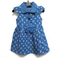 2014 summer new fashion kids children clothing girl denim dress girl casual letter bowknot  brand girl jeans dress k9292