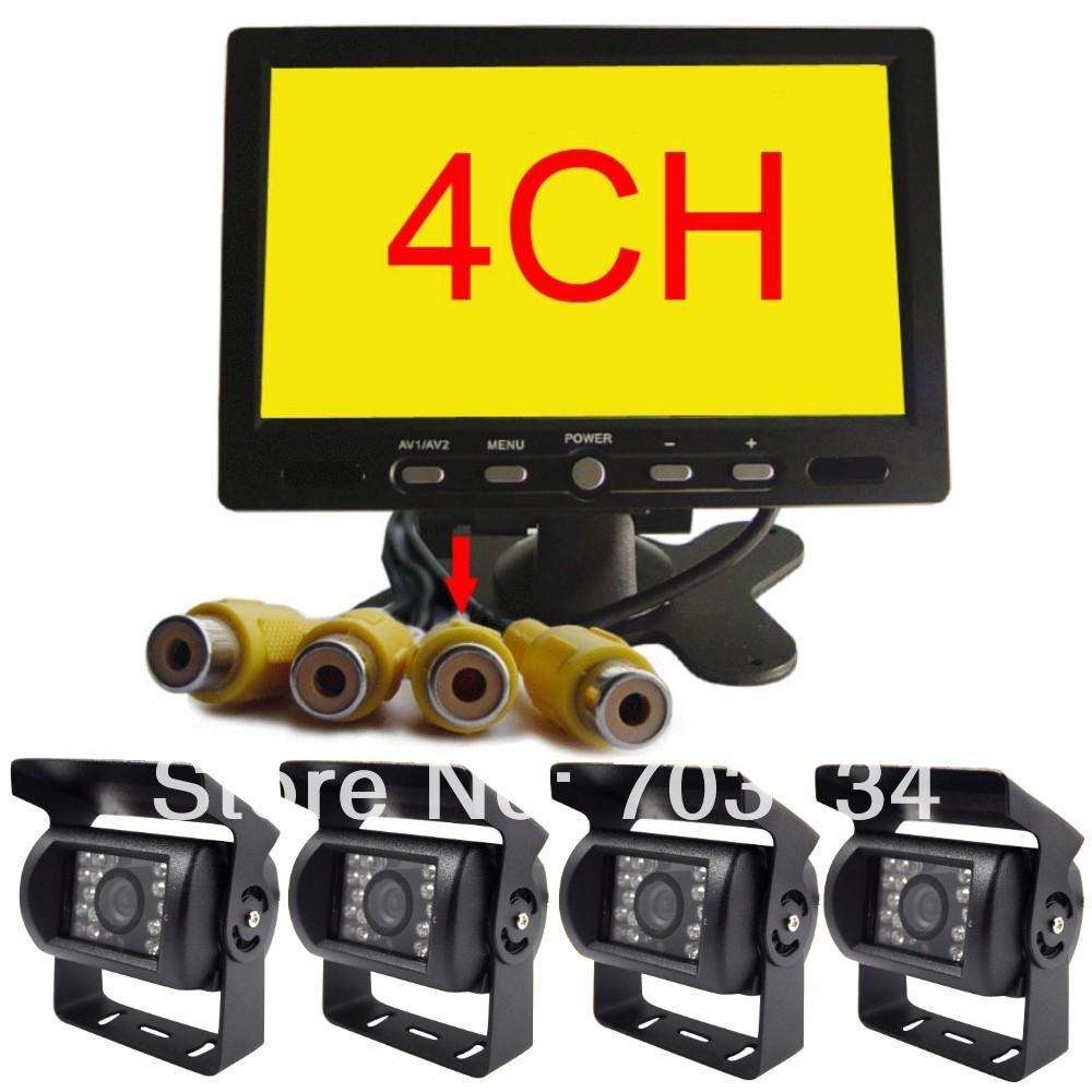 4CH 7inch TFT LCD Quad Monitor CCD Camera Rear view kit 24V BUS TRUCK TRAILER CRANE CAR CCTV system Parking Reversing Back up(China (Mainland))