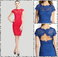 Free shipping 2014 new spring and summer women's temperament embroidered openwork lace dress 13327