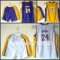 #24 Kobe Bryant Los Angeles Kids/youth purple yellow white Basketball Jersey+short,2014 baby/boys/child basketball Kit As Gift
