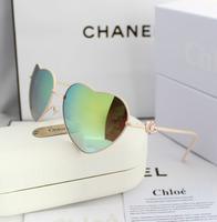 2014 double heart color film Women sunglasses fashion glasses multicolour reflective sunglasses driving mirror