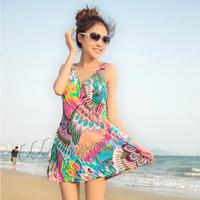 2013 one-piece dress swimwear plus size swimwear women's hot spring swimsuit