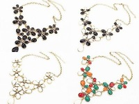 2014 new fashion Mixed Style Flower Leaf Rhinestone Bib Statement Choker Necklace Fashion Women New