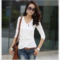Autumn 2014 Korean version of the new solid temperament fold Slim V-neck long-sleeved t-shirt bud female models bottoming shirt