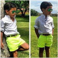 BCS030 Free shipping new arrival cotton boys clothing set summer baby 2 pcs suit cool shirt +pants kids fashion clothes retail