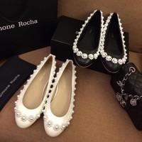 Simone rocha shoes 2014 spring and summer t ruslana korshunova Women shoes pearl flower flat single shoes