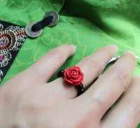National trend vintage accessories miao silver ring female red rose carved lacquer finger ring jz098
