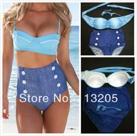 50s Retro Pinup Rockabilly Vintage High Waist Bikini Swimwear Swimsuits S-M-L-XL Drop/Free Shipping