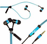 3.5mm Jack Stereo Bass Earbuds Earphones headset in Metal with Mic and Volume Earbuds Zip Zipper for iPhone Samsung HTC MP3