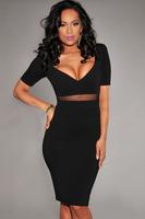 2014 New Summer Sexy Casual Slim Elegant Sweetheart Neck Mesh Insert Black Dresses for Women Bodycon Dress Free Drop Shipping