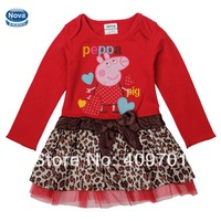 NOVA brand kids girl dress new 2014 children clothes girl peppa pig dress Kids summer cute dresses H4715
