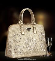 Brand design 2014 women elegant luxury diamond handbag lady PU leather shoulder bag popular shell totes freeshipping