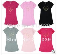 Free shipping  women's 100% summer cotton short-sleeve plus size plus size lovely sleepwear nightgown lounge