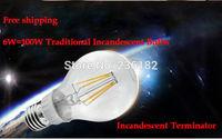 2pcs/lot 2014 new hot factory 6W 110Lm/W 360 Degree LED Filament Bulb,E27 LED Light Bulb