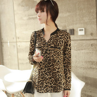 2014 Fashion Women Wild Leopard print chiffon blouse lady sexy Long-sleeve top shirt S/M/L loose plus size V neck leopard blouse