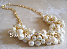 Gold Ivory Pearl Necklace,Pearl Cluster Necklace,Bridesmaid Pearl Necklace,  Free Shipping  2014 New(China (Mainland))