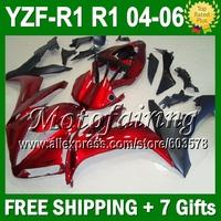 7gifts red black For YAMAYA YZF R1 04 05 06 Custom Dark red black YZFR1 YZF1000 JM101991 YZF-R1 YZF 1000 2004 2005 2006 Fairing