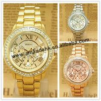 50pcs/lot,0415 Geneva Unisex Watch Roman Number Fashion Quartz Watch Woman Party Gift Watch Rhinestone WristWatches