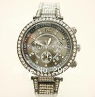 Lady dress watch Mnichael watch, fashion rhinestone watch, 1pc/lot Free Shipping high quality popular watch--black