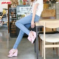 Spring and summer Sky Blue women's female jeans tight elastic jeans pencil pants