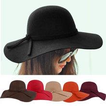 2014 Fashion New Vintage Women Ladies Floppy Wide Brim Wool Felt Fedora Cloche Hat Cap 6 Color Free Shipping(China (Mainland))