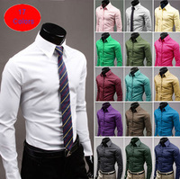2014 Mens Slim fit Unique neckline stylish Dress long Sleeve Shirts Mens dress shirts 17colors size: M-XXXL  Leisure men's Shirt