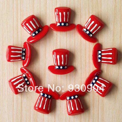 50 pcs Uncle Sam Top Hat US Independant Day Patriotic Resin Cabochon Flatbacks Flat Back Hair Bow Center Crafts Making BXT293(China (Mainland))