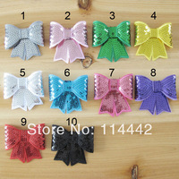 "Free Shipping 50pcs/lot mix 10 colour 3"" Embroideried sequin bows Girls' hair accessories boutique bows DIY accessories"