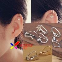2014 hot ear cuff fashion gold silver heart cross star lightning crystal designer women's clip earrings 2piece/lot