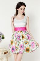 Summer European and American Style Woman Poplin Patchwork Print Dress Fashion O-Neck Collar Slim Lantern Sleeve Cute Brief Dress