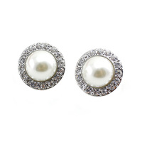 Free Shipping2014 New Arrivals Fashion Jewelry Big Pearl Stud Earrings Crystal  For Women(E042)