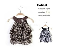 Retail girl dress leopard 2014 New Arrival Baby Girl Fashion Leopard/ Zebra Cake Dress Kid's Dress girls leopard dresses