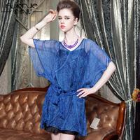Summer fashion silk medium-long one-piece dress mulberry silk short-sleeve loose one-piece dress