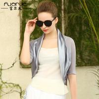 Silk fashion outerwear half sleeve ruffle collar cardigan gradient color mulberry silk top outerwear