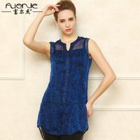 Fashion sleeveless silk shirt female summer medium-long mulberry silk small V-neck basic shirt top