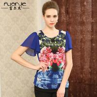 Quinquagenarian silk t-shirt female summer mulberry silk slim print top ruffle sleeve t-shirt
