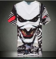 Creative 3D Mens T Shirts Scary Devil Evil Clown Print Creepy Tees for Men 2014 Summer Tshirt Plus Size