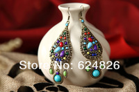 Free Shipping!2014 NEW! China National Style Jewelry Colored Stones Restoring Ancient Ways Earrings for Women ,IN-E-9