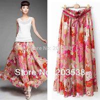 2014 Saias Femininas Women's Clothes Flower Print Women Long Skirt Bohemian Maxi Jupe Beach Skirts 90cm Length