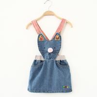 2014 new arrival baby lovely cartoon cat denim overalls toddler cute jeans summer bodysuit childen clothing set