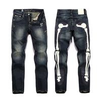 New Arrival Size 28-38 Men's Jeans Big M Bone Printing Tide Slim Fit Straight Modern trousers Pencil Pants