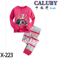 Frozen family Elsa baby & kids Clothing set Boys / Girls Kristoff Snow Elsa & Anna Long sleeve Pyjamas Leisure Tracksuit Set