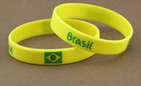 2014 World Cup soccer fans wristband / bracelet strap Brazil fans / Brazilian flag silicone bracelet hand ring 1000pcs/ lot